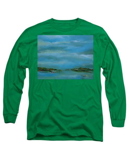Long Sleeve T-Shirt featuring the painting Lake Wallenpaupack Early Morning by Judith Rhue