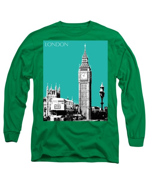 London Skyline Big Ben - Teal Long Sleeve T-Shirt