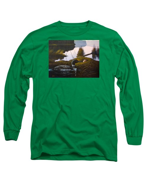 Long Sleeve T-Shirt featuring the painting Loon Lake by Richard Faulkner