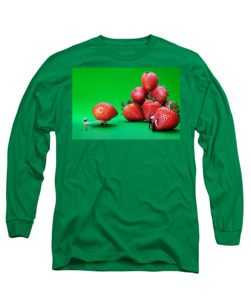 Long Sleeve T-Shirt featuring the photograph Moving Strawberries To Depict Friction Food Physics by Paul Ge