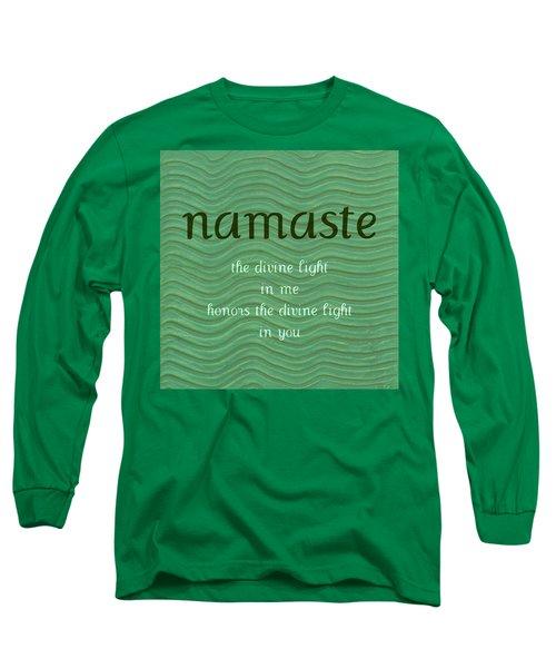 Namaste With Blue Waves Long Sleeve T-Shirt