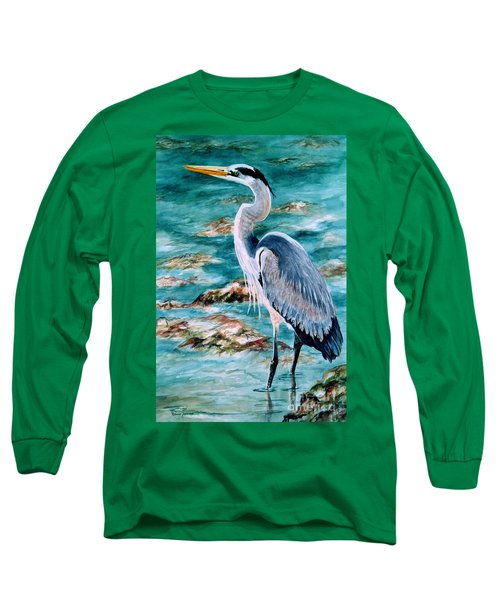 On The Rocks Great Blue Heron Long Sleeve T-Shirt