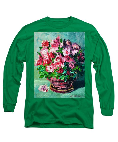 Pink Flowers Long Sleeve T-Shirt by Ana Maria Edulescu