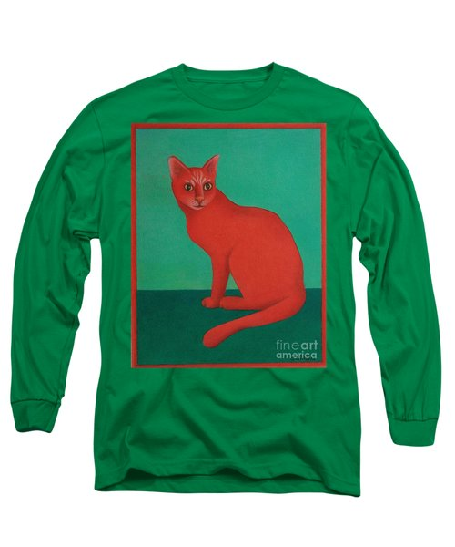Red Cat Long Sleeve T-Shirt by Pamela Clements