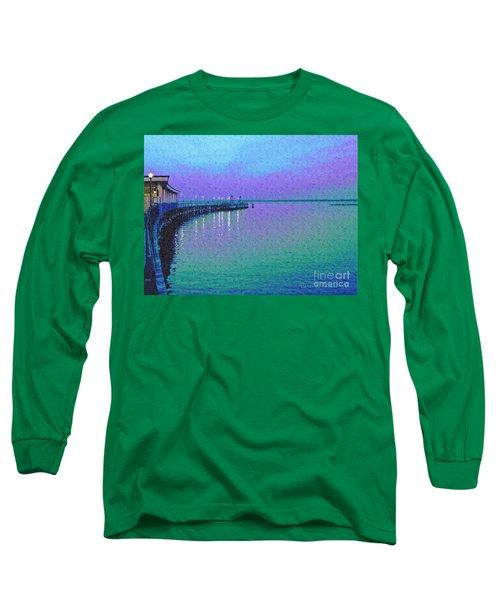 Painterly Seascape Purple Flurry Long Sleeve T-Shirt by Carol F Austin