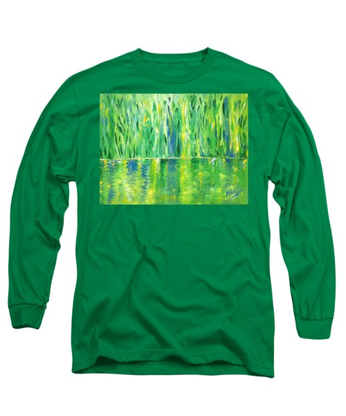 Serenity In Green Long Sleeve T-Shirt by Donna Blackhall