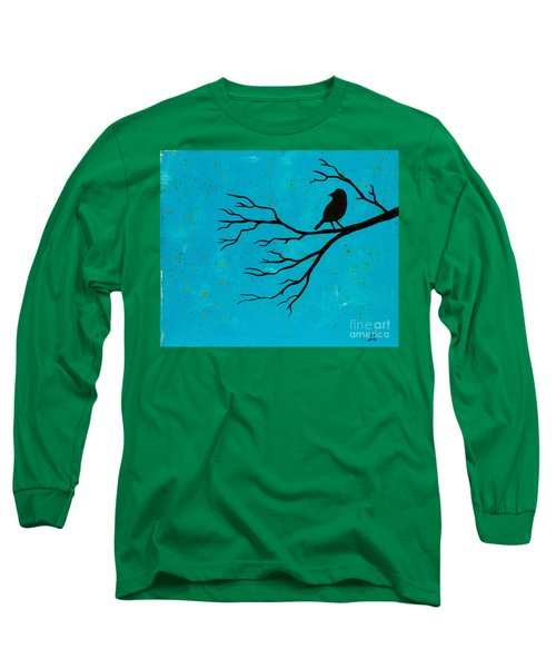 Silhouette Blue Long Sleeve T-Shirt by Stefanie Forck