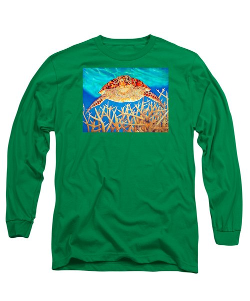 Sea  Turtle Soaring Over Staghorn Long Sleeve T-Shirt