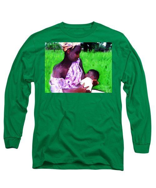 Long Sleeve T-Shirt featuring the painting The Feeding 2 by Vannetta Ferguson