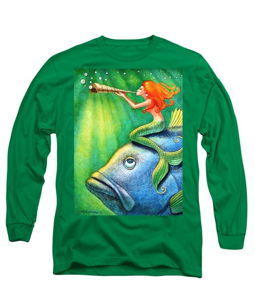 Long Sleeve T-Shirt featuring the painting Toot Your Own Seashell Mermaid by Sue Halstenberg