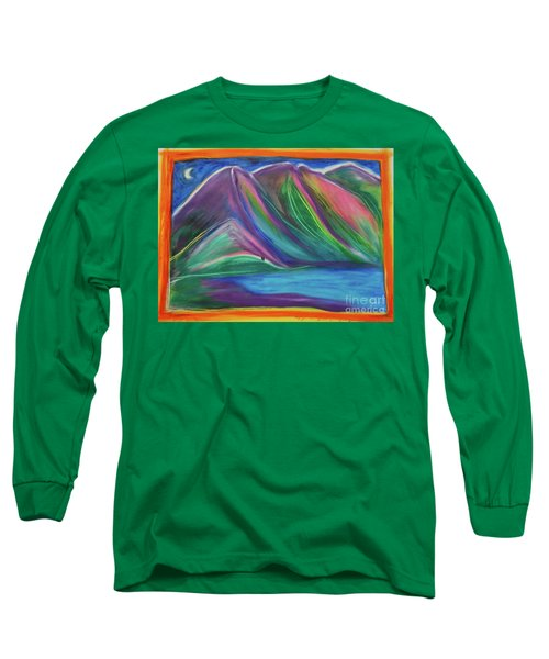 Long Sleeve T-Shirt featuring the painting Travelers Mountains By Jrr by First Star Art