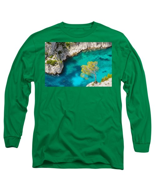 Tree On Turquoise Waters Long Sleeve T-Shirt