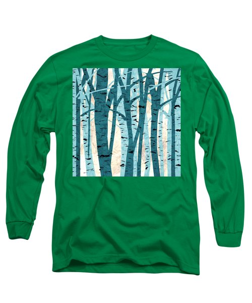 Turquoise Birch Trees Long Sleeve T-Shirt