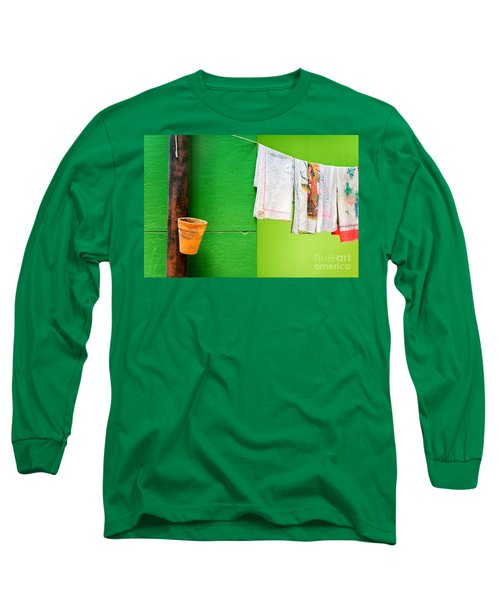 Long Sleeve T-Shirt featuring the photograph Vase Towels And Green Wall by Silvia Ganora