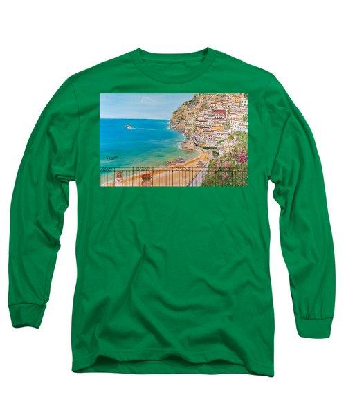 Long Sleeve T-Shirt featuring the painting Vista Su Positano by Loredana Messina