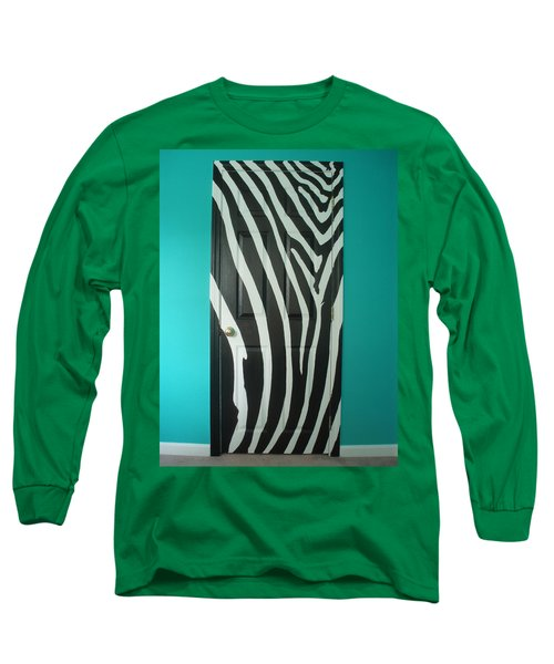 Zebra Stripe Mural - Door Number 1 Long Sleeve T-Shirt by Sean Connolly