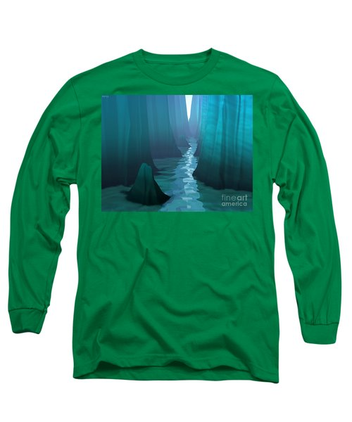 Long Sleeve T-Shirt featuring the digital art Blue Canyon River by Phil Perkins