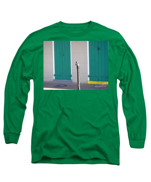 Long Sleeve T-Shirt featuring the photograph Horse Head Post With Green Doors by Alys Caviness-Gober