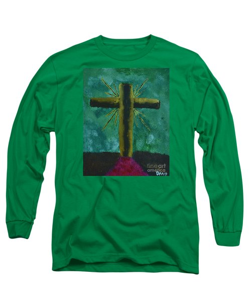 Long Sleeve T-Shirt featuring the painting The Old Rugged Cross by Donna Brown