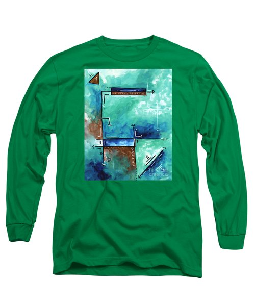 Colorful Abstract Pop Art Style Original Painting Sea Green Blues And Brown By Megan Duncanson Long Sleeve T-Shirt