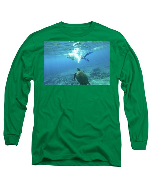 Snorkeler Female Sea Turtle Long Sleeve T-Shirt