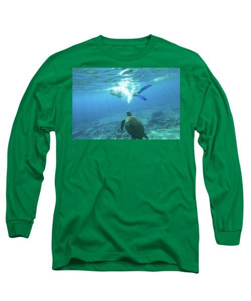 Snorkeler Female Sea Turtle Long Sleeve T-Shirt