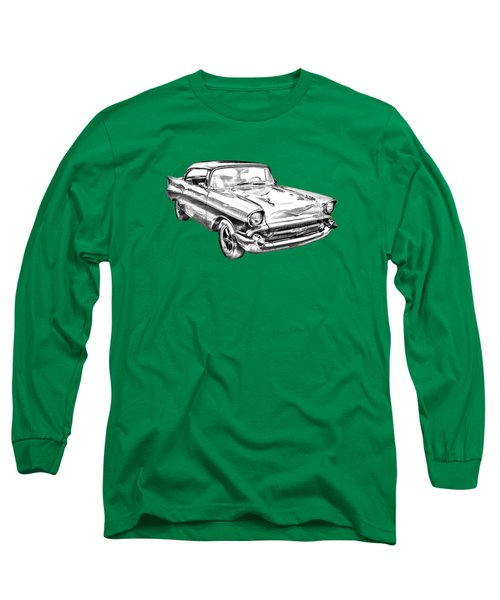 1957 Chevy Bel Air Illustration Long Sleeve T-Shirt by Keith Webber Jr