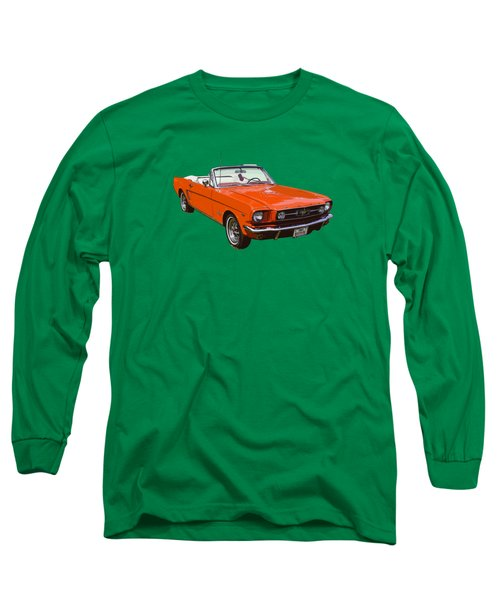 1965 Red Convertible Ford Mustang - Classic Car Long Sleeve T-Shirt by Keith Webber Jr