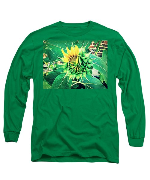 Peeping Sunflower Long Sleeve T-Shirt by Angela Annas