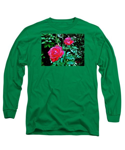 Long Sleeve T-Shirt featuring the photograph 2 Red Roses by Sadie Reneau