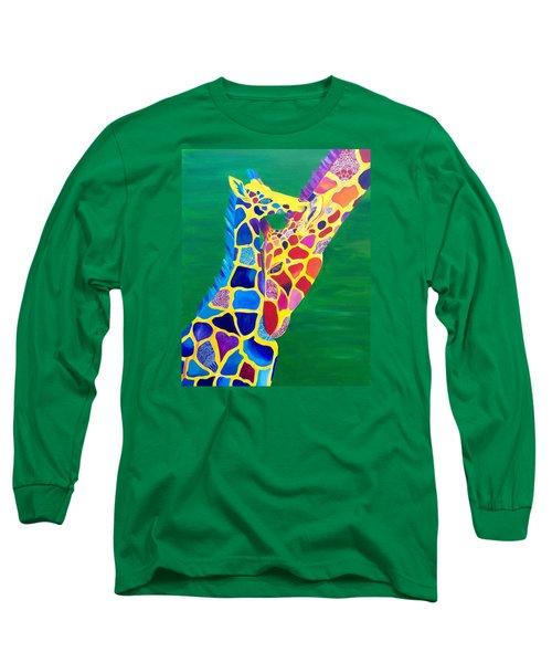 Abstract Mehndi Giraffe Mom And Baby Long Sleeve T-Shirt