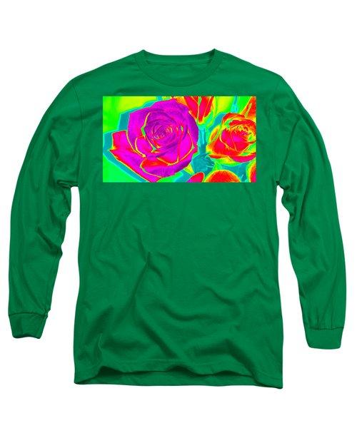 Abstract Roses Long Sleeve T-Shirt by Karen J Shine