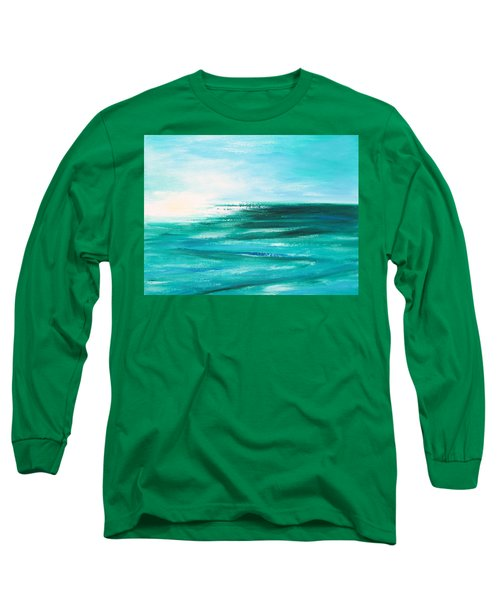 Abstract Sunset In Blue And Green 2 Long Sleeve T-Shirt