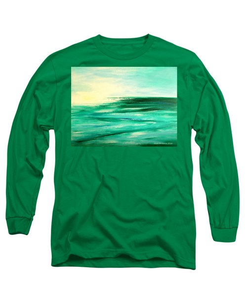 Abstract Sunset In Blue And Green Long Sleeve T-Shirt