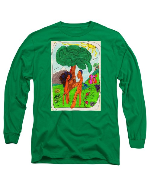 Adam And Eve Long Sleeve T-Shirt by Martin Cline