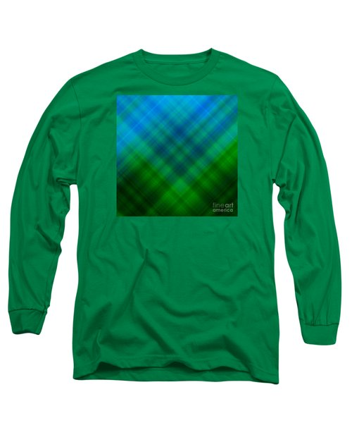 Angled Blue Green Plaid Long Sleeve T-Shirt
