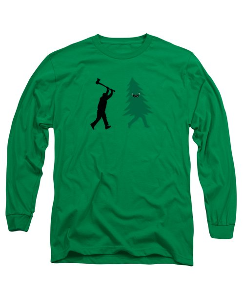 Funny Cartoon Christmas Tree Is Chased By Lumberjack Run Forrest Run Long Sleeve T-Shirt by Philipp Rietz