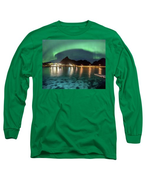 Aurora Above Turquoise Waters Long Sleeve T-Shirt by Alex Conu