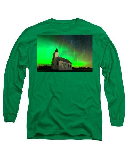Aurora And Country Church Long Sleeve T-Shirt by Dan Jurak
