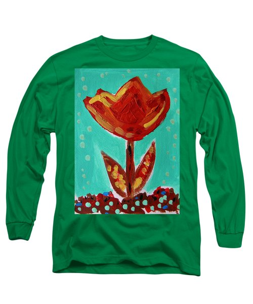 Long Sleeve T-Shirt featuring the painting Avis-flowers From The Flower Patch by Mary Carol Williams