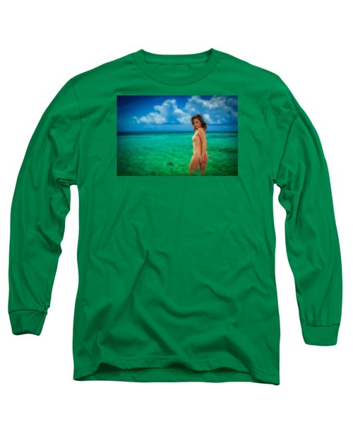 Long Sleeve T-Shirt featuring the photograph Bathing Nude by Harry Spitz