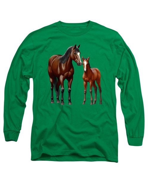 Bay Mare And Foal In Winter Long Sleeve T-Shirt