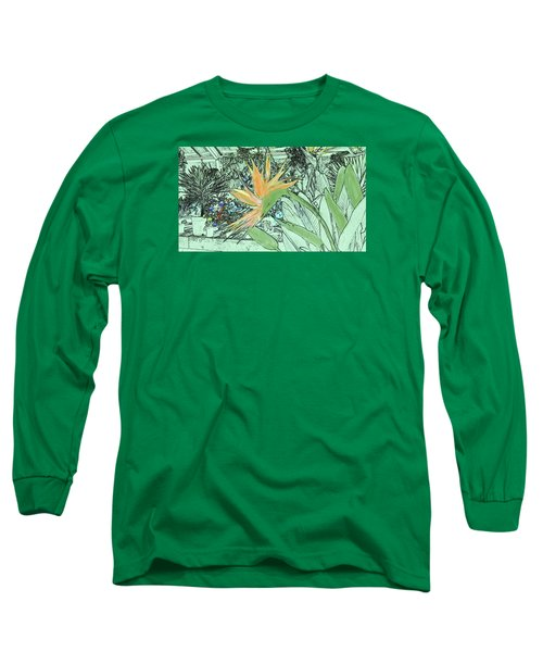 Long Sleeve T-Shirt featuring the photograph Bird Of Paradise In The Hothouse by Nareeta Martin