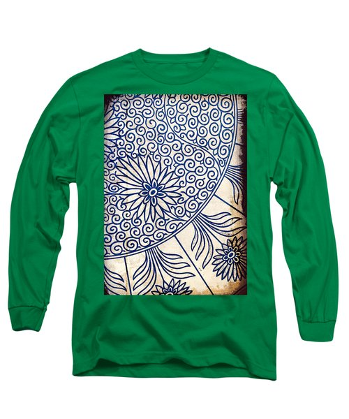 Blue Oriental Vintage Tile 01 Long Sleeve T-Shirt