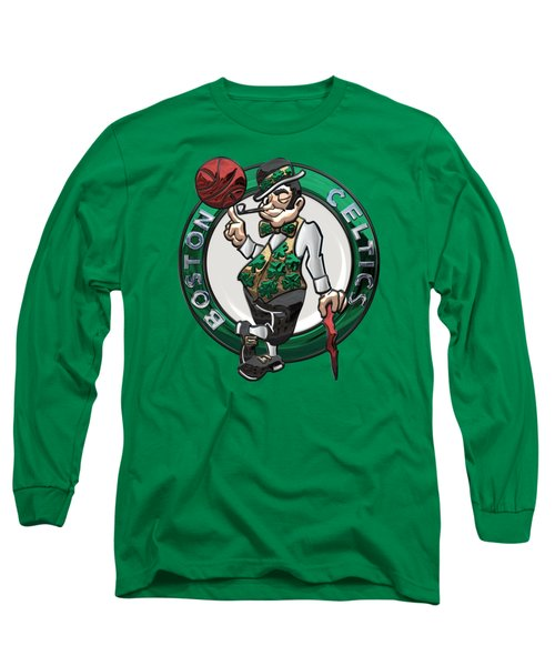 Boston Celtics - 3 D Badge Over Flag Long Sleeve T-Shirt by Serge Averbukh