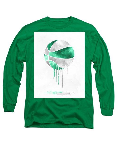 Boston Celtics Dripping Water Colors Pixel Art Long Sleeve T-Shirt