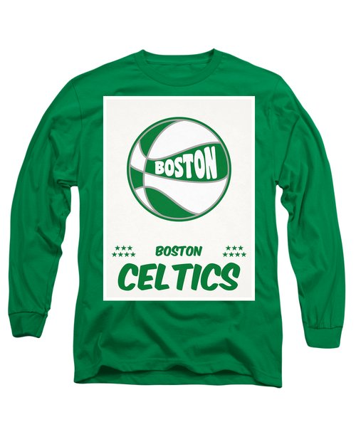 Boston Celtics Vintage Basketball Art Long Sleeve T-Shirt