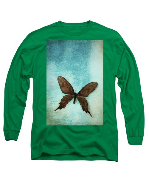 Brown Butterfly Over Blue Textured Background Long Sleeve T-Shirt