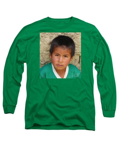 Brown Eyed Bolivian Boy Long Sleeve T-Shirt by Lew Davis