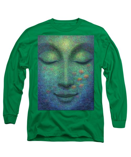 Long Sleeve T-Shirt featuring the painting Buddha Smile by Sue Halstenberg